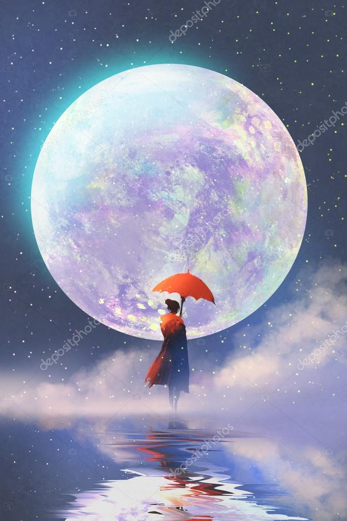 woman with umbrella standing on water against full moon background