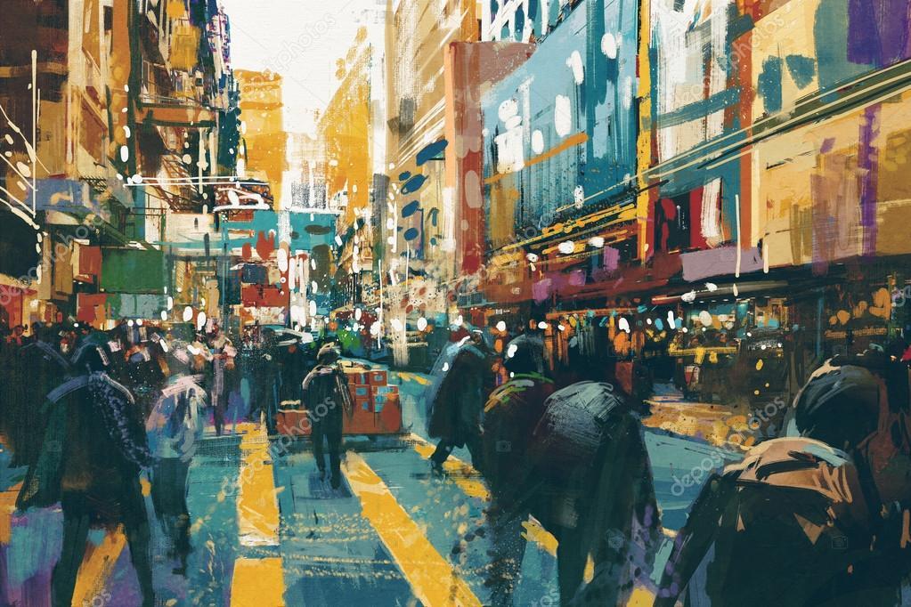 people walking in colorful of city street