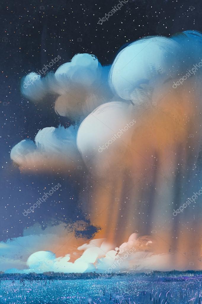 night scenery of big cumulonimbus clouds over field