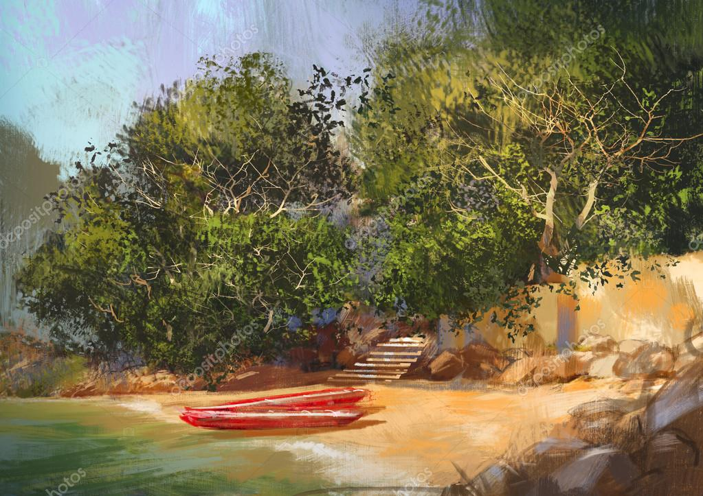 landscape painting of tropical beach
