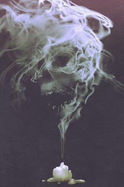 skull shaped smoke comes out from burnt candle