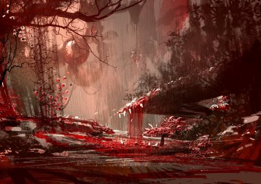 bloodyland,horror landscape,illustration