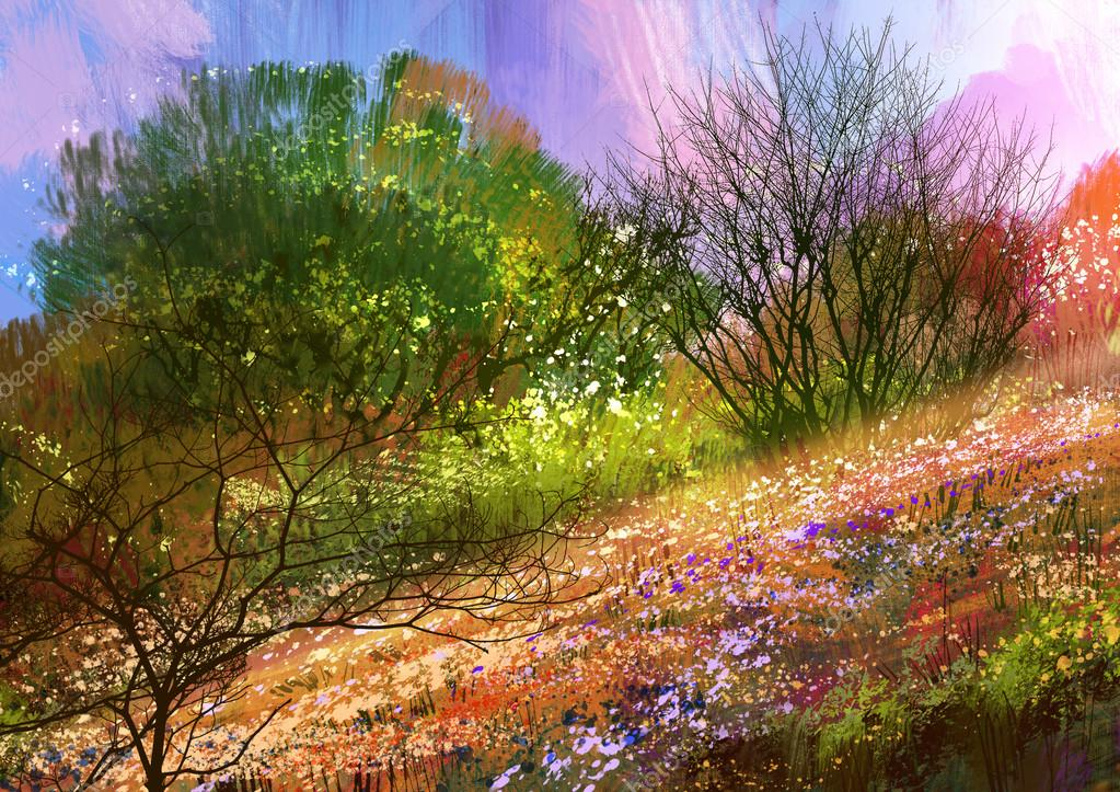 colorful meadow,landscape illustration