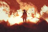 Fényképek férfi fegyvert állandó tűz háttér
