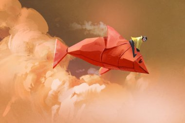 girl riding on the origami paper red fish in the clouds