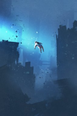 astronaut floating in abandoned city,mysterious space