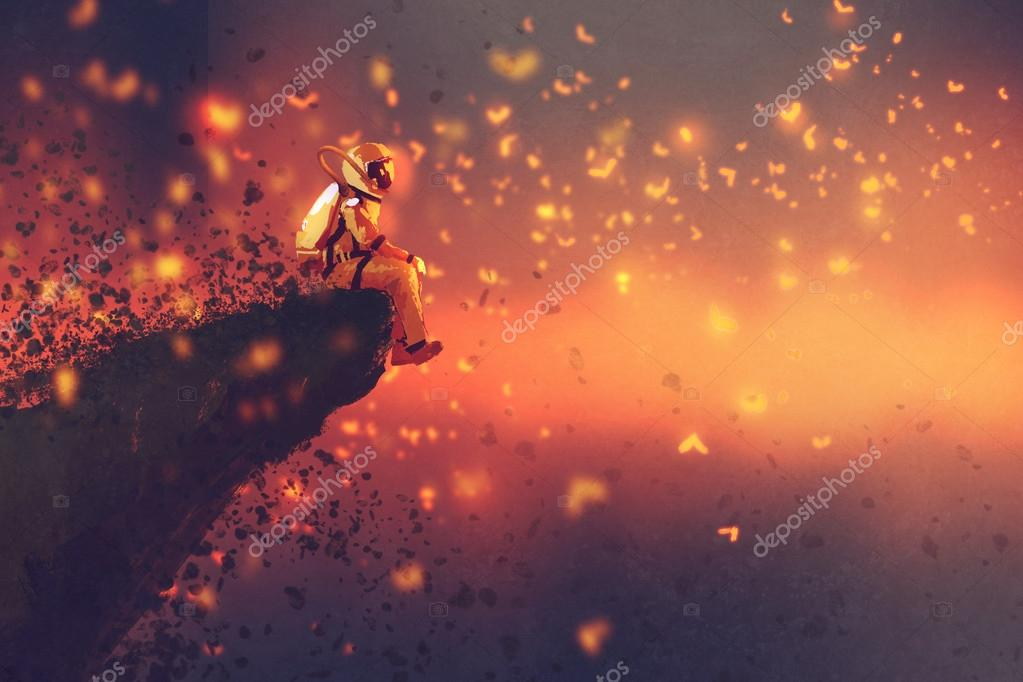 astronaut sitting on cliff's edge and looking to fireflies
