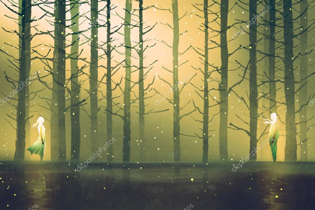 man and woman standing against night forest
