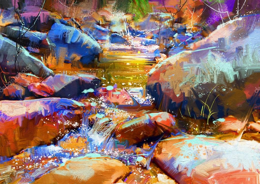 waterfall with colorful stones