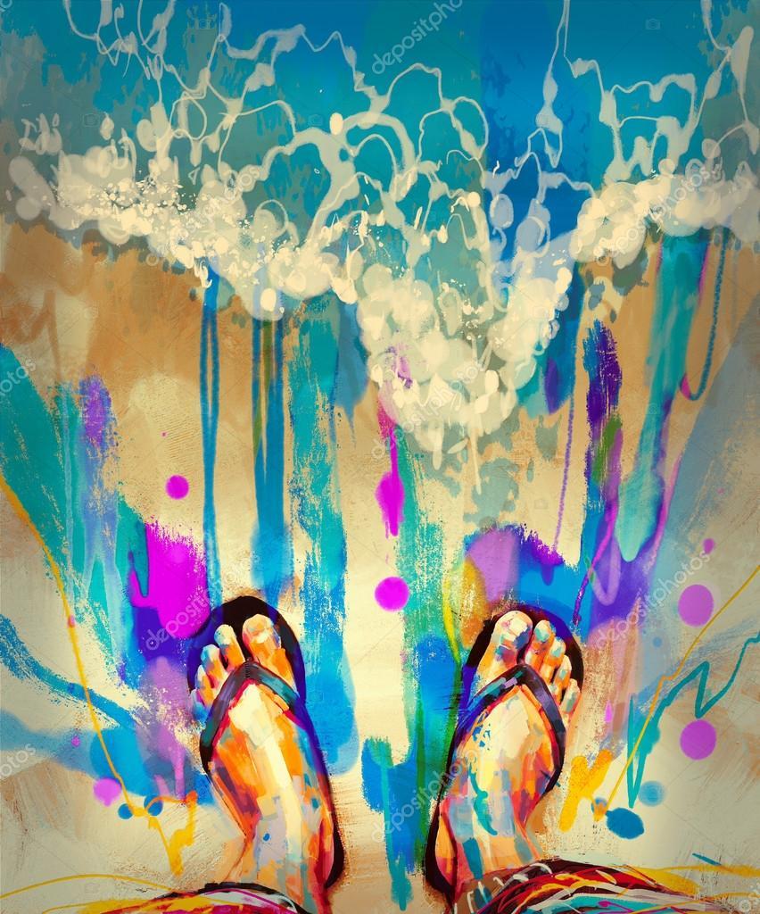 colorful feet in  flip-flops