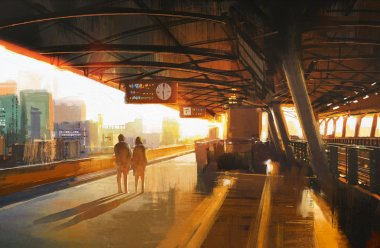 couple waiting a train on the station