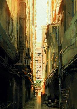 long narrow alleyway at sunset