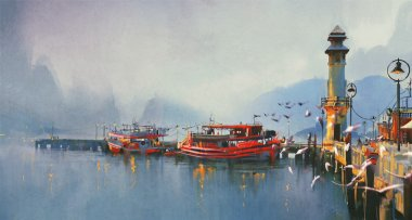 Fishing boats in harbor at morning