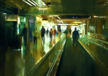 people walking in the terminal