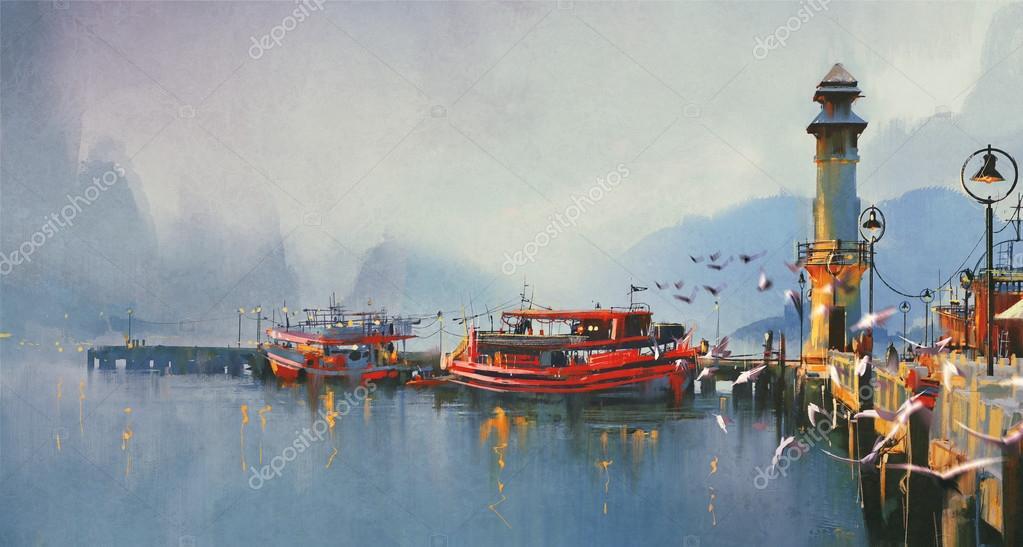 Fishing boats in harbor at morning