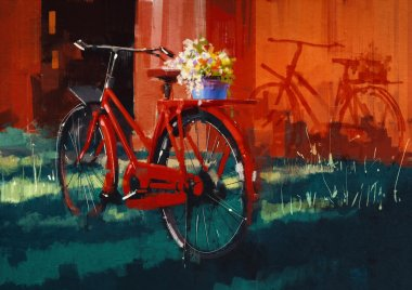 Vintage bicycle with bucket