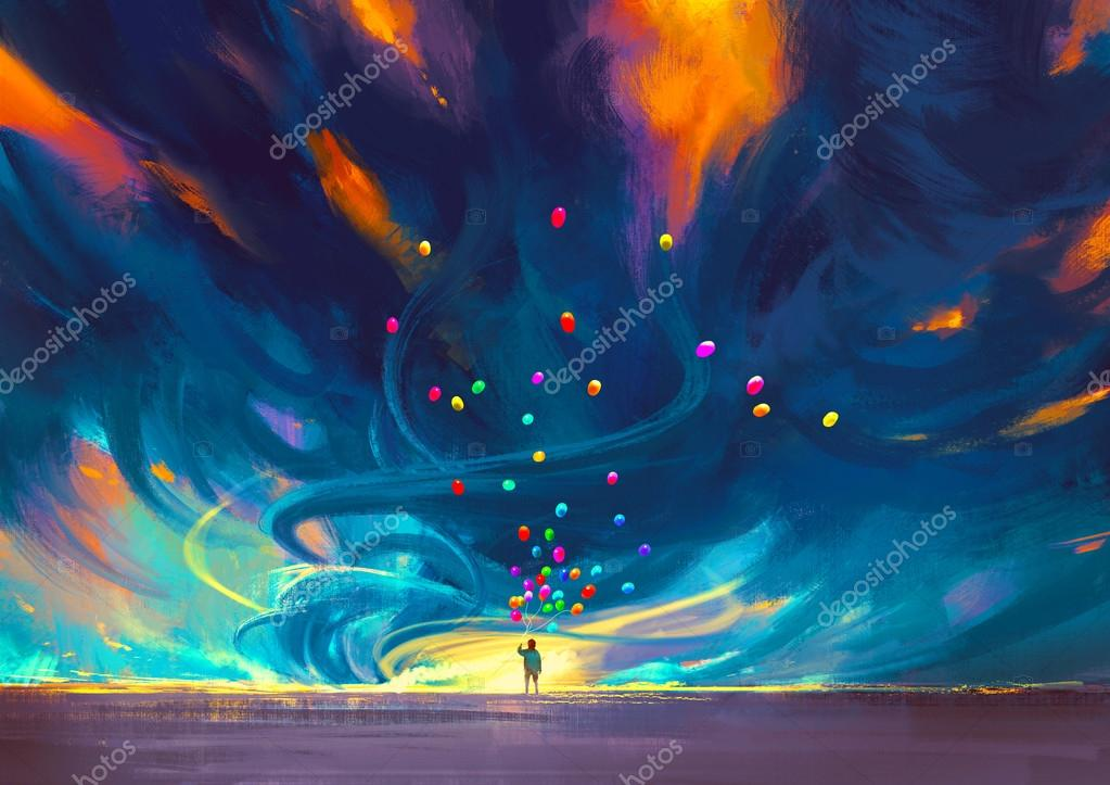 Child holding balloons standing in front of fantasy storm,illustration painting stock vector