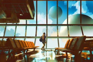 Young girl walking in airport looking planets through window