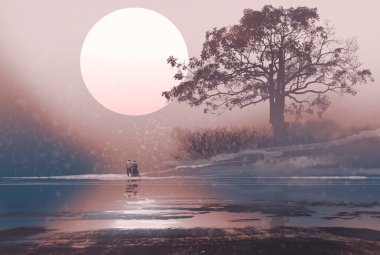 love couple in winter landscape with huge moon above