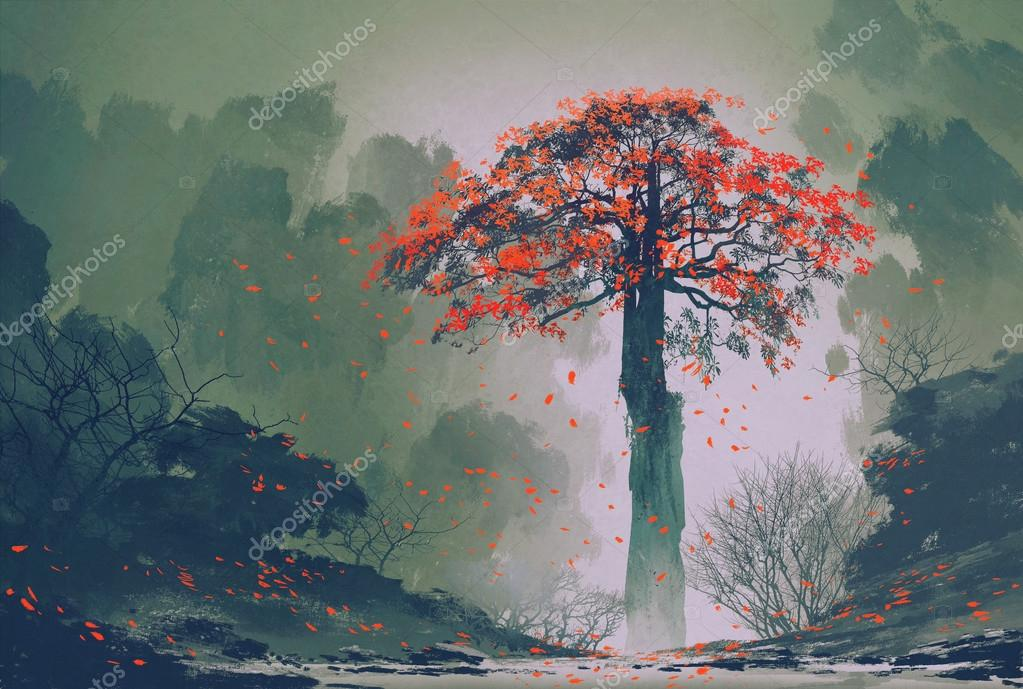 lonely red autumn tree with falling leaves in winter forest