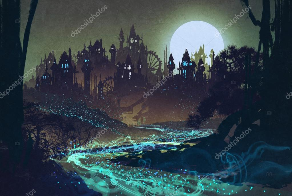 beautiful landscape with mysterious river,full moon over castles
