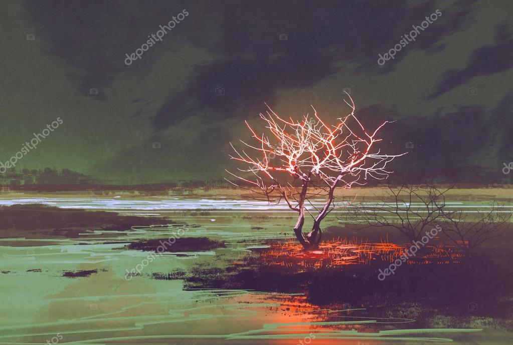 night landscape with glowing tree