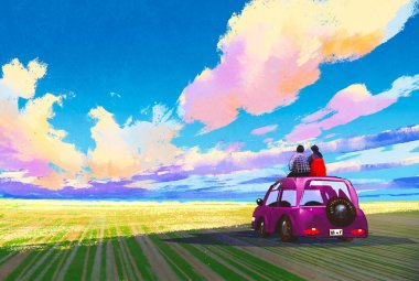 young couple sitting on car in front of dramatic landscape