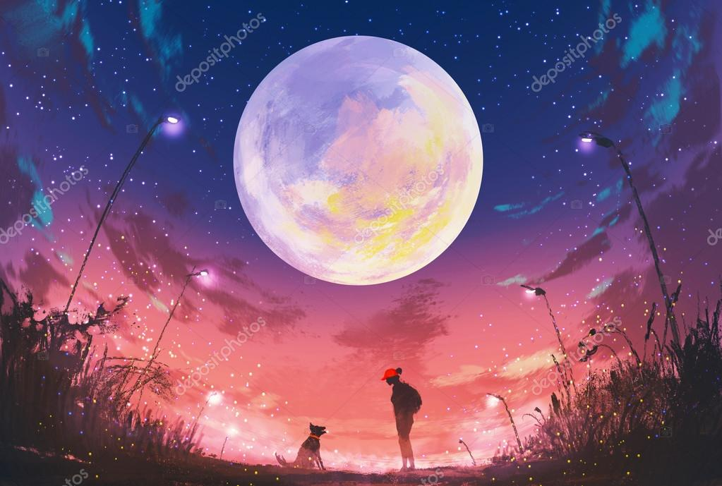 young woman and dog at beautiful night with huge moon above