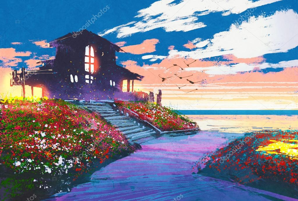 seascape with beach house and colorful flowers at background