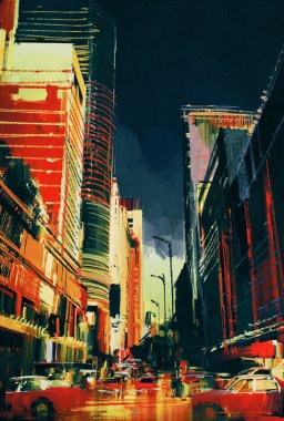 colorful painting of city street with office buildings