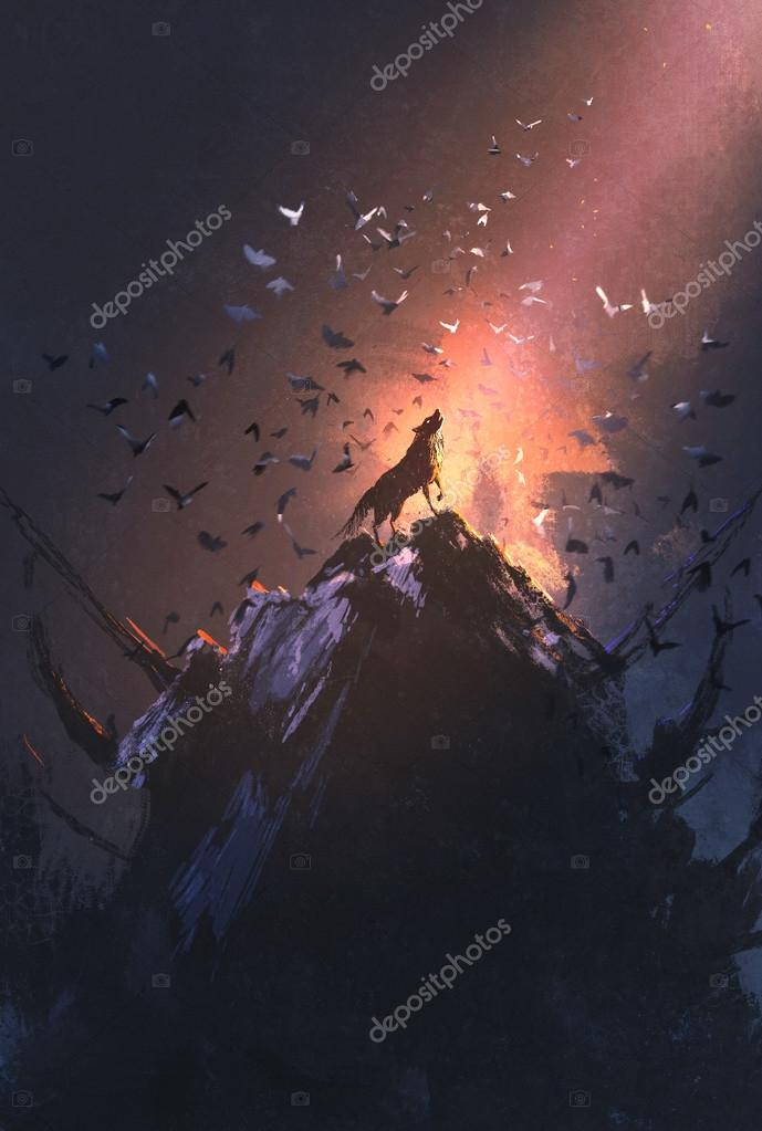 howling wolf on rock with bird flying around