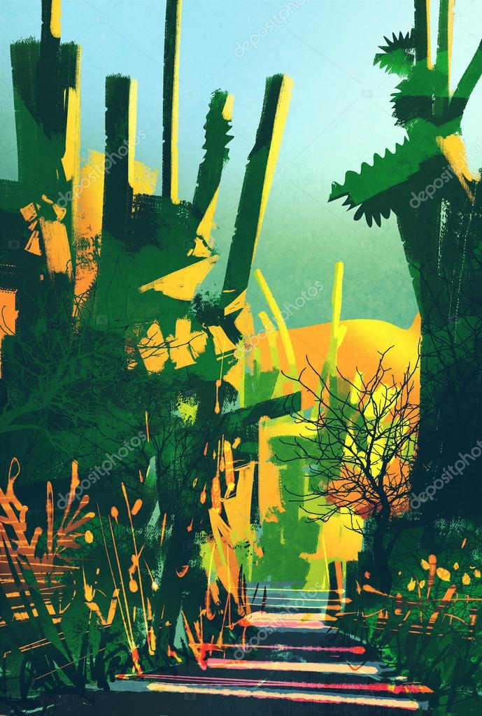abstract colorful landscape,fantasy forest