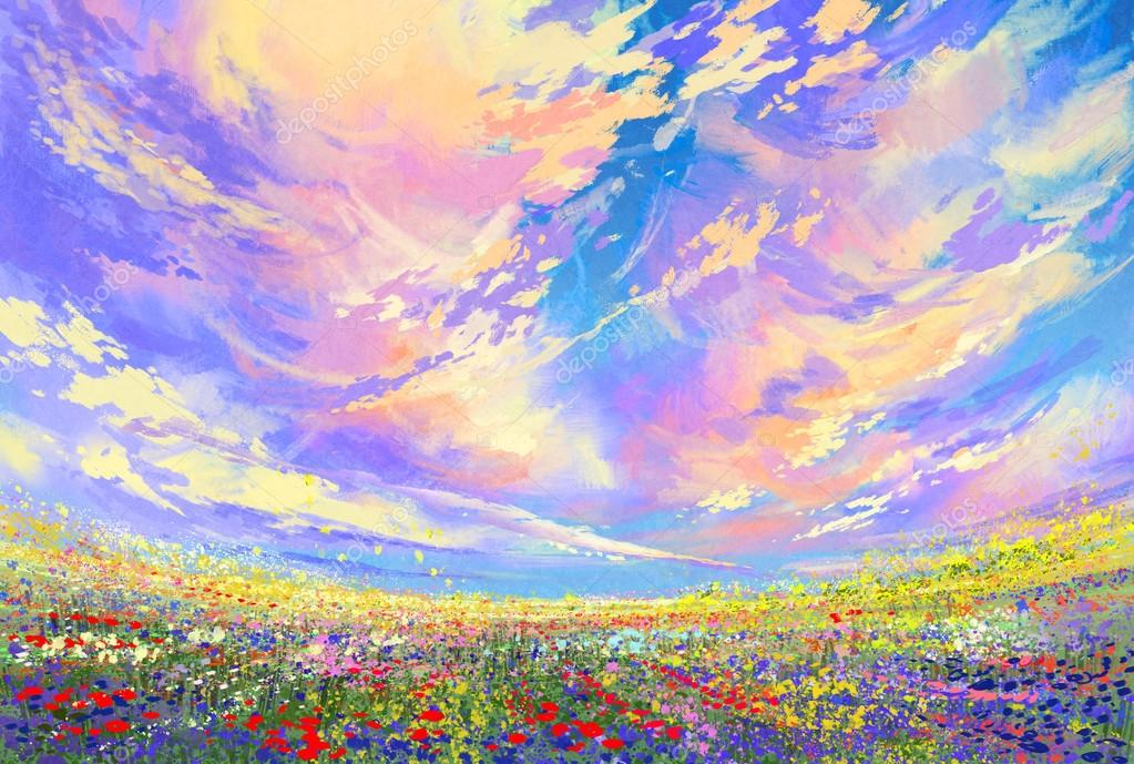colorful flowers in field under beautiful clouds