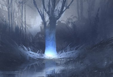 night scene of spooky forest with swamp