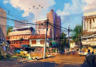 Street scene with urban traffic on a beautiful sunny day