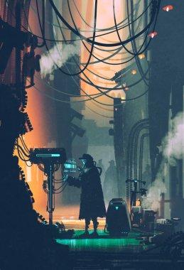 sci-fi scene of robot using futuristic computer in city street