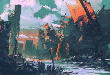 disaster city,apocalyptic scenery
