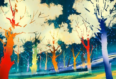 Fantasy forest with colorful trees,landscape digital painting stock vector