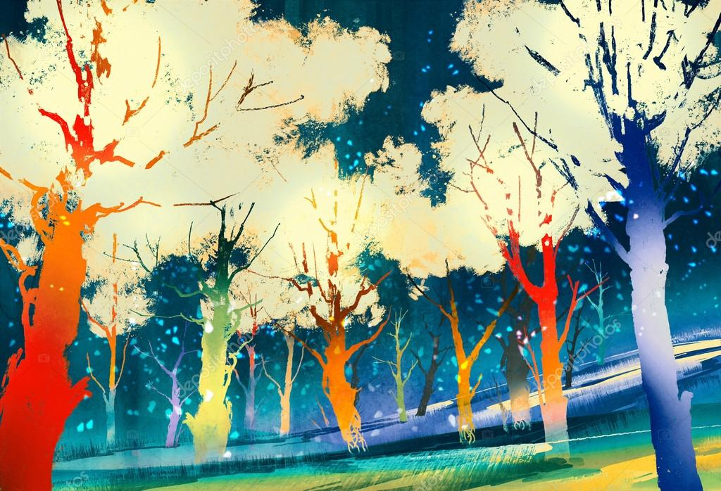 fantasy forest with colorful trees