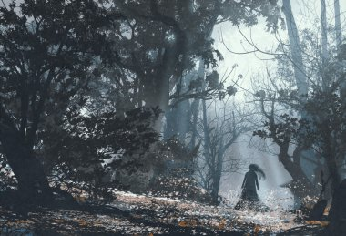woman in mysterious dark forest