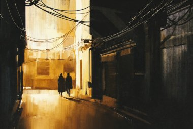 couple walking in alley at night