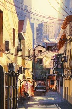 narrow street with buildings