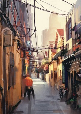 painting of narrow alleyway in old town