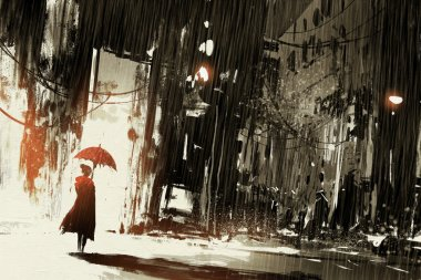 lonely woman with umbrella in abandoned city