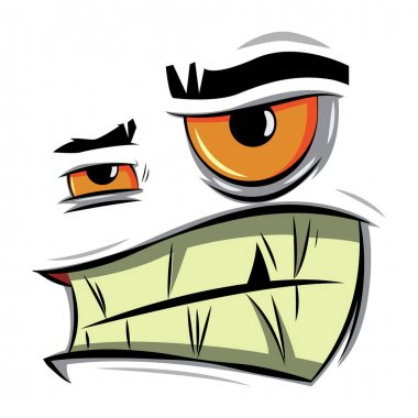 Angry cartoon face. Vector illustration of emotion of aggression, irritation and discontent. icon