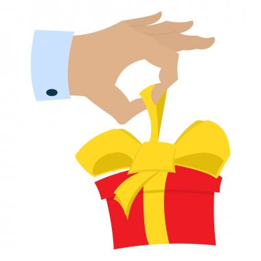 Hand gift giving red box with bow. Vector illustration isolated on a white background. Flat icon. icon