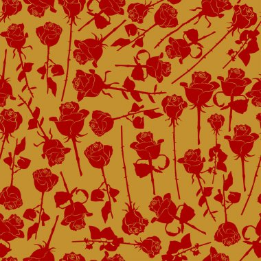 Red roses silhouette vector seamless pattern on golden background for wallpaper, wrapping, packing, and backdrop. icon