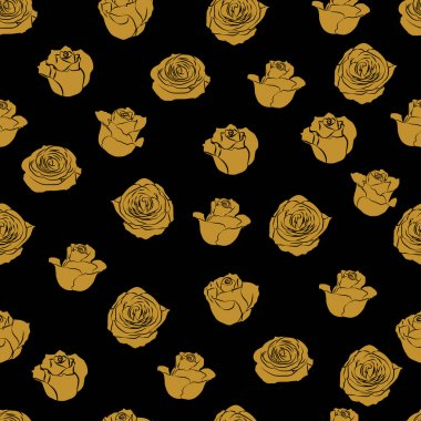 Golden roses bud silhouette vector seamless pattern on black background for wallpaper, wrapping, packing, and backdrop. icon
