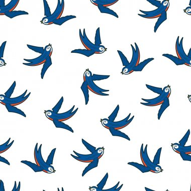 Swallows vector seamless pattern on white background for wallpaper, wrapping, packing, and backdrop. icon