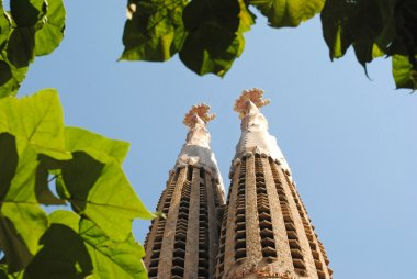 BARCELONA, SPAIN - AUGUST 11: Spires of Church of the Holy Famil